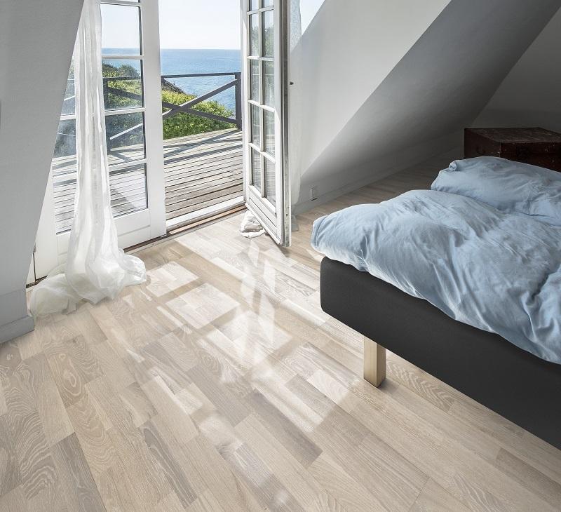 得高Kahrs环保地板,为你打造魅力新居 三拼白色橡木Oak Pale