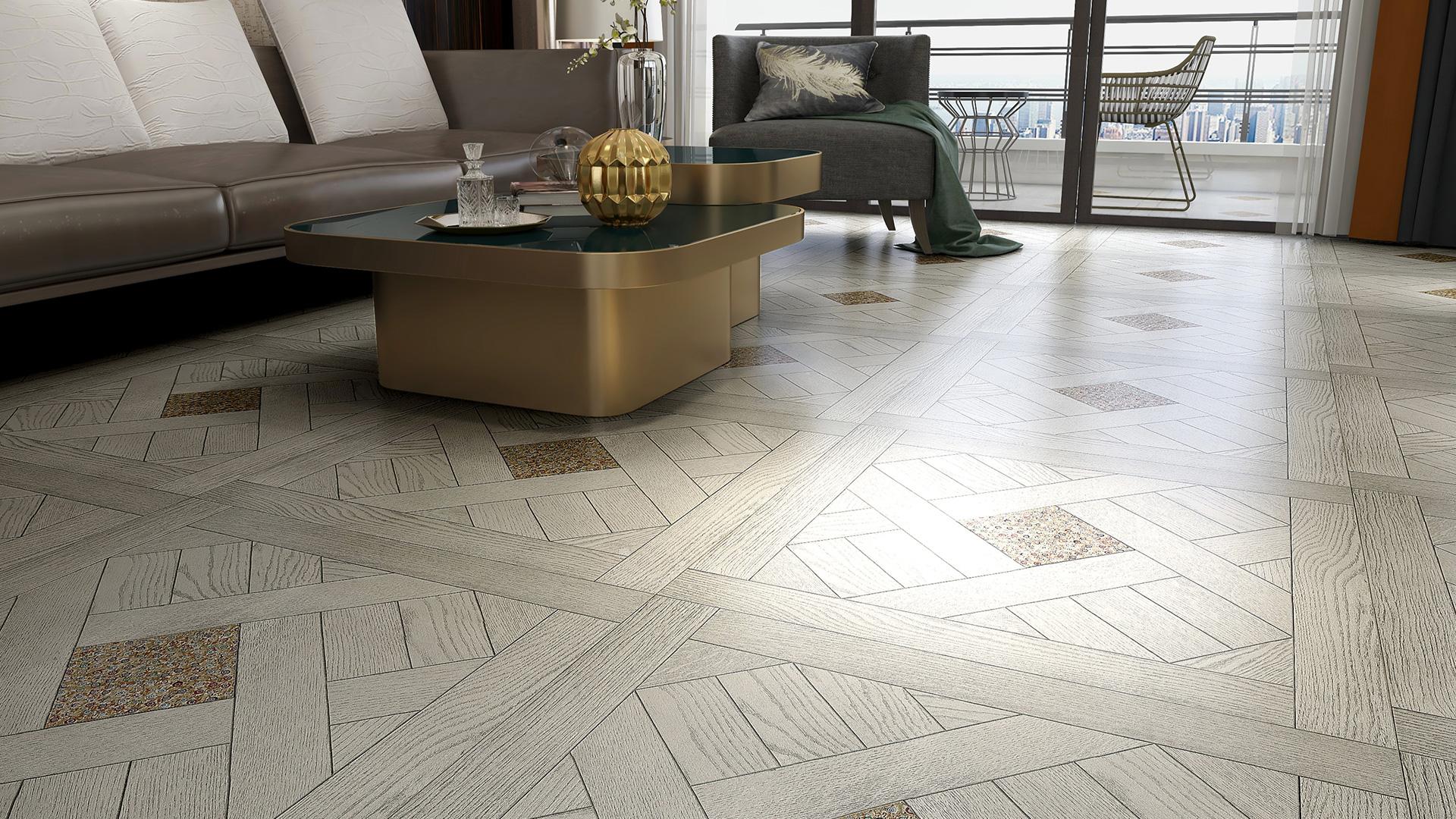 意大利GARBELOTTO实木复合地板,白金色方形拼花带玻璃