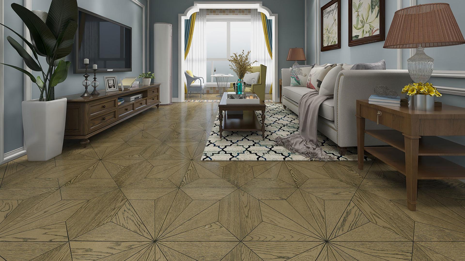 意大利GARBELOTTO实木复合地板,香槟金橡木罗马方形拼